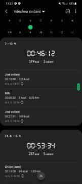 Samsung Health výkony detail