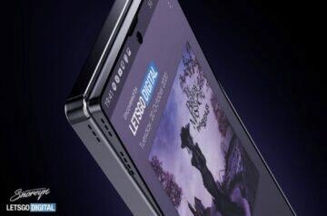 Samsung telefon s výklopným displejem patent roh detail