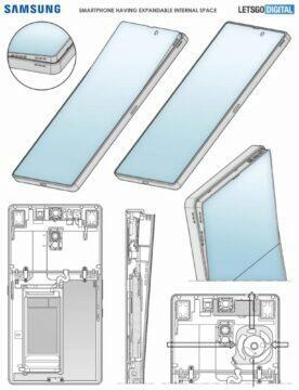 Samsung telefon s výklopným displejem patent výkres