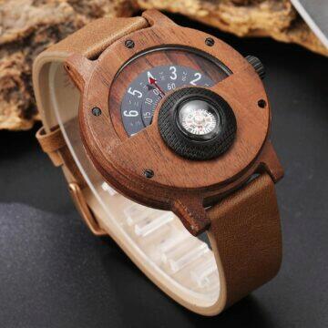 tipy na extravagantni hodinky Dřevěný nádech lesa s kompasem tělo