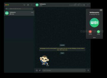 WhatsApp desktop videohovory screen