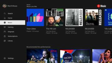 youtube music TV menu