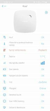 aplikace AJAX Security System požární hlásič poplach teplota