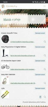 aplikace Tomikup.cz seznam přání náhled rezervace