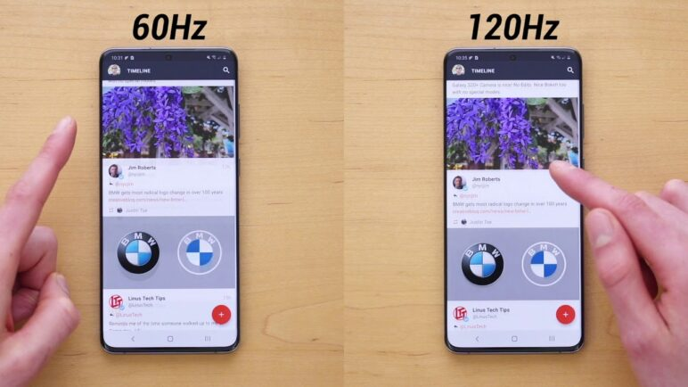 Galaxy S20 60Hz vs 120Hz Display Refresh Rate Comparison