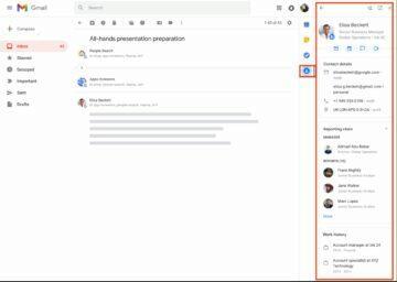 Gmail postranní panel kontakty náhled