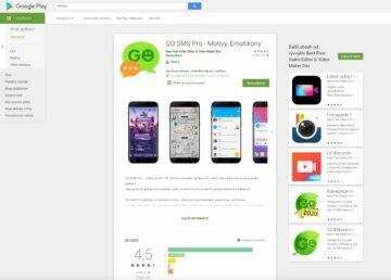 Go SMS Pro kritická chyba - stranka aplikace na Play Store