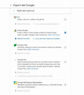 Google Fotky jak stáhnout v Google Takeout
