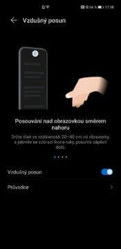 EMUI 11 Huawei Mate 40 Pro vzdušná gesta posouvání