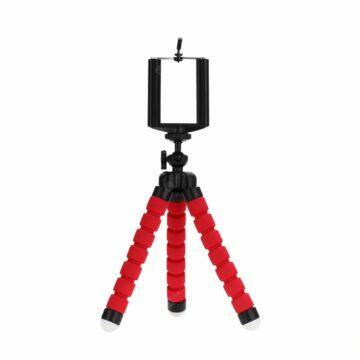 Budík s Bluetooth reproduktorem a rádiem Trojnožka stativ pro telefon červená