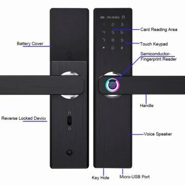 Chytrý zámek YOHEEN s biometrickým odemykáním parametry