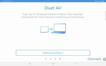 Duet Display Android aplikace vytvoření účtu