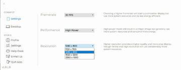 Duet Display Windows aplikace nastavení