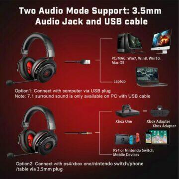 Herní sluchátka EKSA E900 PRO konektivita