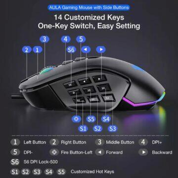 Herní RGB myš AULA tlačítka