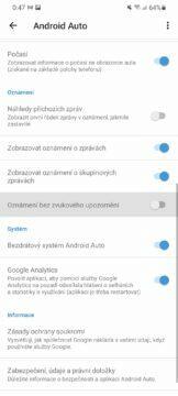 jak vypnout hlasitá oznámení v Android Auto přepínač