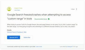 nastavení zamrznutí karty Google vyhledávání screen