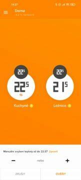 Netatmo Energy manuální zvýšení teploty