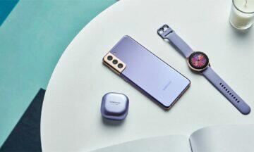 Samsung Galaxy S21 Plus fialová hodinky sluchátka