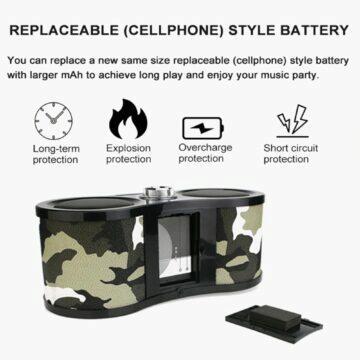 sluchátka s nahráváním hovorů Stylové multifunkční army rádio Retekess V113 baterie