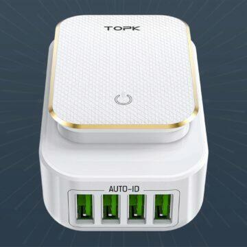 Svítící nabíjecí adaptér TOPK se čtyřmi USB porty