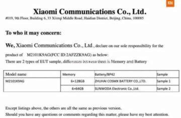 Xiaomi Mi 11 Lite certifikace
