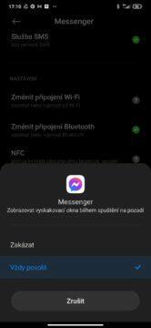 Android 10 vyskakovací okna