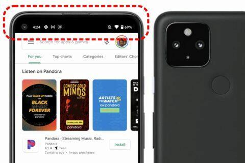 Android 12 Pixel pruh zakrývající foťák