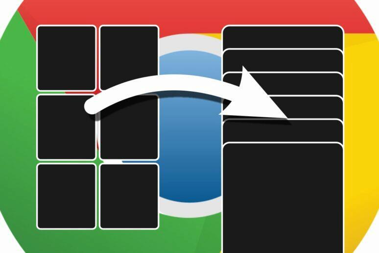 aplikace Google Chrome zobrazení karet