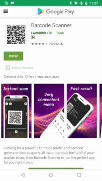 Barcode Scanner malware v play store