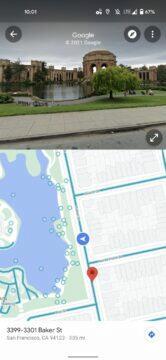 Google Mapy street view rozdělení obrazovky ukazka