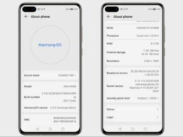 HarmonyOS kopie Android 10 informace o systému
