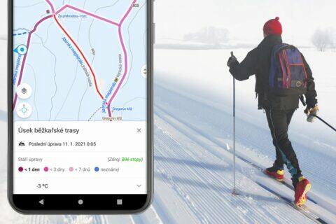 mapy.cz upravenost běžkařských tras