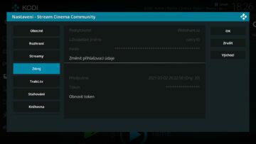 přihlašovací údaje stream cinema webshare kodi