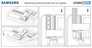 Samsung patent výsuvný otočný selfie foťák mechanismus