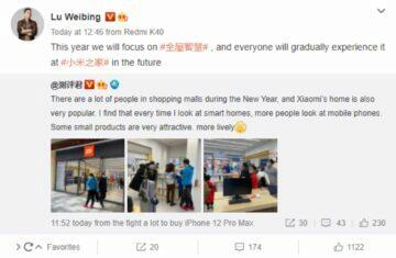 Xiaomi více smart home produktů 2021 Weibo Lu Weibing