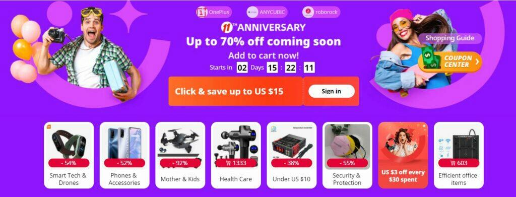 AliExpress 11 let banner