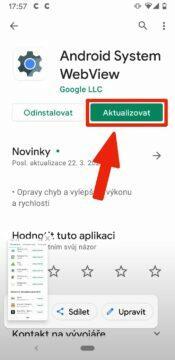 padající aplikace na Androidu - Android system webview aktualizace