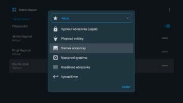 Android TV screenshot snímek obrazovky Button Mapper akce