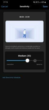 aplikace detekce pohybu citlivost
