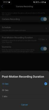 aplikace detekce pohybu délka záznamu