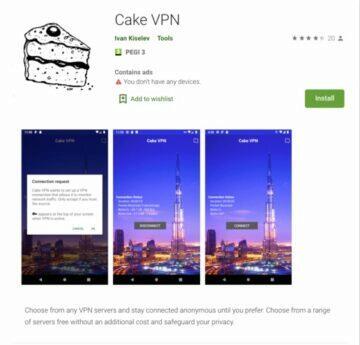 Devět aplikací Clast82 - cake vpn
