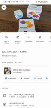 Fotky Google Lens nový prostor menu
