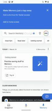 Google Asistent Paměť prohledávání