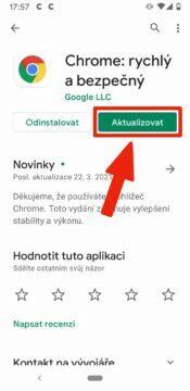 padající aplikace na Androidu - Google Chrome aktualizace