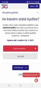 Sčítání 2021 přes mobil aplikace stát