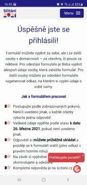 Sčítání 2021 přes mobil aplikace úspěšné přihlášení