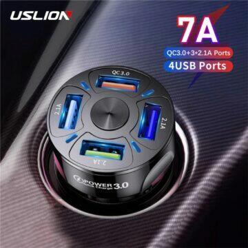 USLION adaptér do auta se čtyřmi USB porty