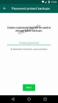 WhatsApp šifrované zálohyvytvoreni hesla