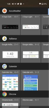 Android 12 DP2 přehled novinek - widgety otevrene menu